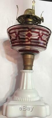 Antique Glass Oil Lamp Milk Glass Base Cranberry & Clear #1 Collar No Reserve