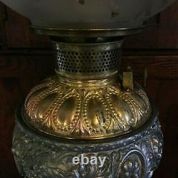 Antique Gone With The Wind Banquet Oil Lamp 1800's Victorian Era Glass Brass