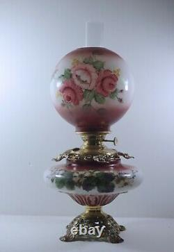 Antique Gone With The Wind Lamp Kerosene Oil Lamp Roses Success Pittsburgh