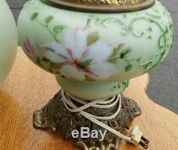 Antique Gone With the Wind Oil LampHand painted Electrified A Beauty! We Ship