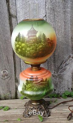 Antique Gone with the Wind Electrified Oil Table Lamp with Asian Pagoda Scene