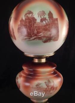 Antique Gone with the Wind Kerosene Oil LampSafariArabian DesertIndian Scenes