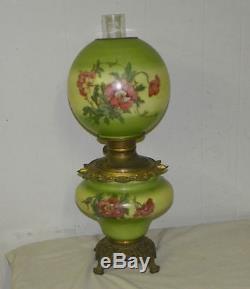 Antique Gone with the Wind Oil Kerosene Lamp Poppy Flower Decorations