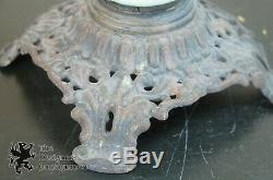 Antique Gone with the Wind Oil Lamp Parlor Lantern Blue Glass Floral Painted 27