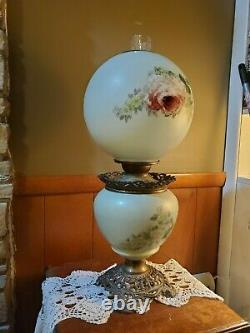 Antique Gone with the Wind Oil Lamp with ROSES- 10 Shade, 22 Tall