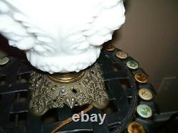 Antique Gone with the Wind Satin Glass Cherub Face Electrified Parlor Oil Lamp