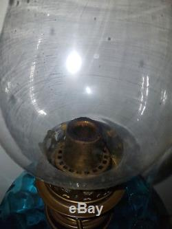 Antique Gorgeous Blue Oil Lamp