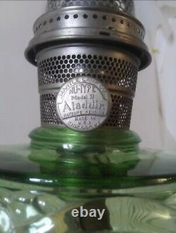 Antique Green Glass Oil Lamp