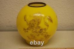 Antique Gwtw Old Oil Kerosene Lamp Mini Yellow Cased Sandwich Glass Globe Shade