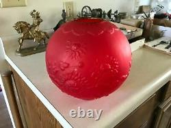 Antique Gwtw Red Satin Glass Art Nouveau Chrysanthemum Kerosene Oil Lamp Shade