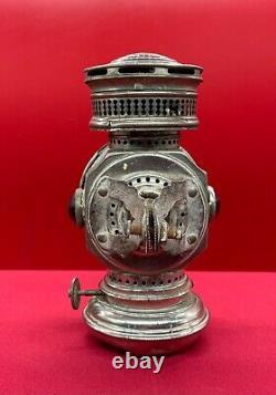 Antique HINE WATT Chicago BICYCLE LAMP early c. 1890 rare find bike oil lantern