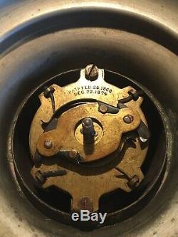 Antique HITCHCOCK Clockwork Mechanical Kerosene Oil Lamp 1880 unpolished runs