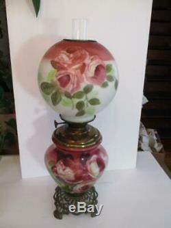 Antique Hand Painted Roses GWTW 24 Table Oil Lamp
