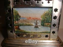 Antique Handpainted German Bisque Tile Lithophane Oil Lamp Tea Or Coffee Warmer