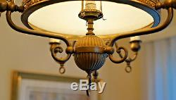 Antique Hanging 131 Year Old Oil Lamp Converted to Electric