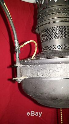Antique Hanging Aladdin # 23 Electrified Oil Lamp withMilk Glass Shade, Smoke Bell