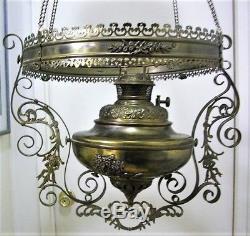 Antique Hanging Brass Parlor Oil Kerosene Lamp Extension Mechanism Parts Restore