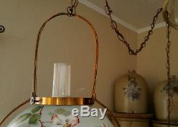 Antique Hanging Electrified Solar Oil Country Store Lamp Painted Flower Shade