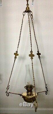 Antique Hanging HINKS #2 OIL LAMP, LIBRARY PARLOR CHANDELIER CHURCH UNIQUE