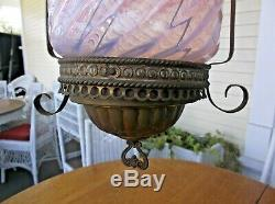 Antique Hanging Hall Electrified Oil Lamp Chandelier Pink Cranberry Opalescent