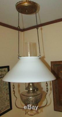 Antique Hanging Kerosene Oil Lamp, Glass Font, Ornate Brass Frame, Slant Shade