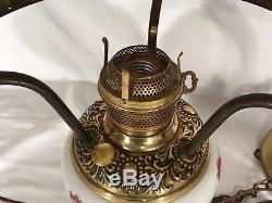Antique Hanging Oil Lamp Electrified Victorian Parlor Light Fixture Vtg Floral