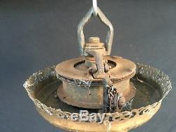Antique Hanging Victorian Oil Lamp c. 1892 Edward Miller Crystal Pendants