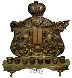 Antique Hanukkah Brass Oil Lamp Menorah Judaica Warszawa Poland c1900s