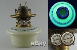 Antique Hinks Patent Uranium Milk Glass Drop In Oil Lamp Font Orig Duplex Burner
