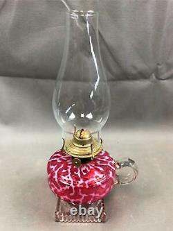 Antique Hobbs Pink & White Coral Seaweed Kerosene Oil Finger Lamp