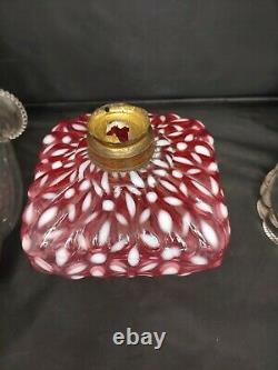 Antique Hobbs Snowflake Cranberry Red Opalescent Glass Oil Kerosene Lamp