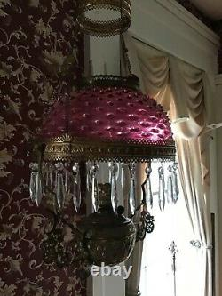 Antique Hobnail Victorian Hanging Parlor Library Kerosene Oil Lamp VERY RARE