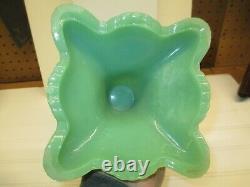 Antique Jadite Green Embossed Glass Kerosene Oil Lamp Complete SUPER WOW