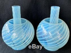 Antique Jr Size Oil Lamp Blue Opalescent Swirl Ball Shades withmatching Chimneys