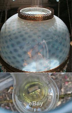 Antique Kerosene LAMP Bradley Hubbard Oil Chandelier brass hanging Glass blue