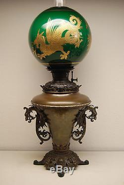 Antique Kerosene Oil Gwtw B&h Chinese Dragon Emerald Green Victorian Parlor Lamp