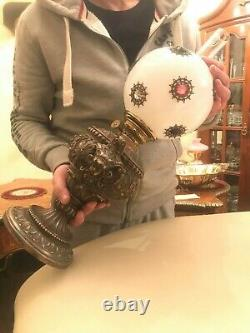 Antique Kerosene Oil Lamp Antique Globe Glass Shade with Jewels