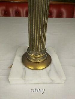 Antique Kosmos Brenner Corinthian Column Cranberry Glass Converted Oil Lamp 22