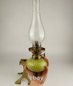 Antique Kosmos Brenner Oil Peg Lamp Brass Candlestick 19th C Hurricane Shade