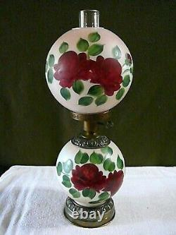 Antique LARGE GWTW Floral Glass Hurricane Lamp Converted from Oil Hand Painted