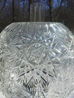 Antique Large Exquisite Diamond Crystal Oil/Kerosene Lamp