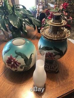 Antique Large Fostoria Victorian Gone with the Wind Hand Painted Oil Lamp