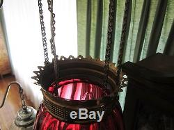Antique Late 1800's Brass with Cranberry Glass Hanging Oil Lamp Chandelier