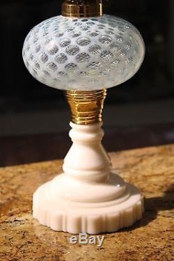 Antique Light Blue Two Tone Opalescent Glass Oil Lamp. Approx 19