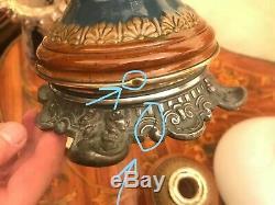 Antique Majolica Kerosene Oil Lamp Antique Globe Glass Shade w. Crystal pendants