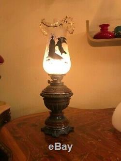 Antique Majolica Kerosene Oil Lamp Beautiful Glass Shade