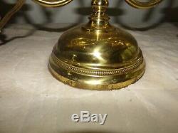 Antique Manhattan Brass Dbl Student Oil Lamp