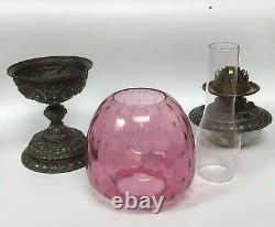 Antique Maple & Co Duplex Oil Lamp With Stained Cranberry Glass Shade