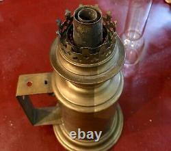Antique Marked Beaufils Brass Oil Lamp with Kosmos Burner and Chimney