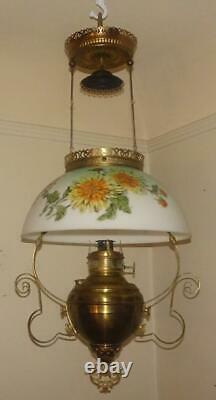 Antique Miller 1892 Brass Victorian Hanging Oil Lamp Kerosene Parlor Chandelier